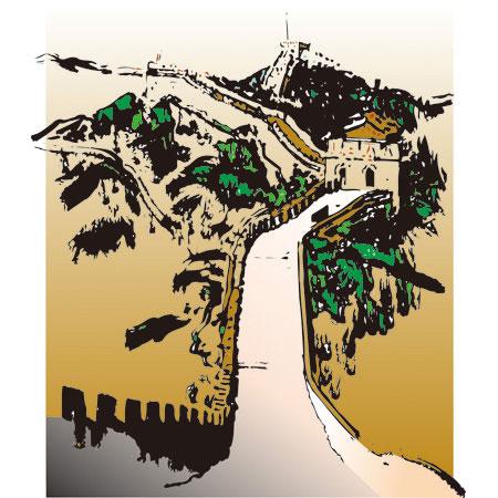 万里の長城(中国):【世界の観光名所 :筆絵:Ai・JPEG】